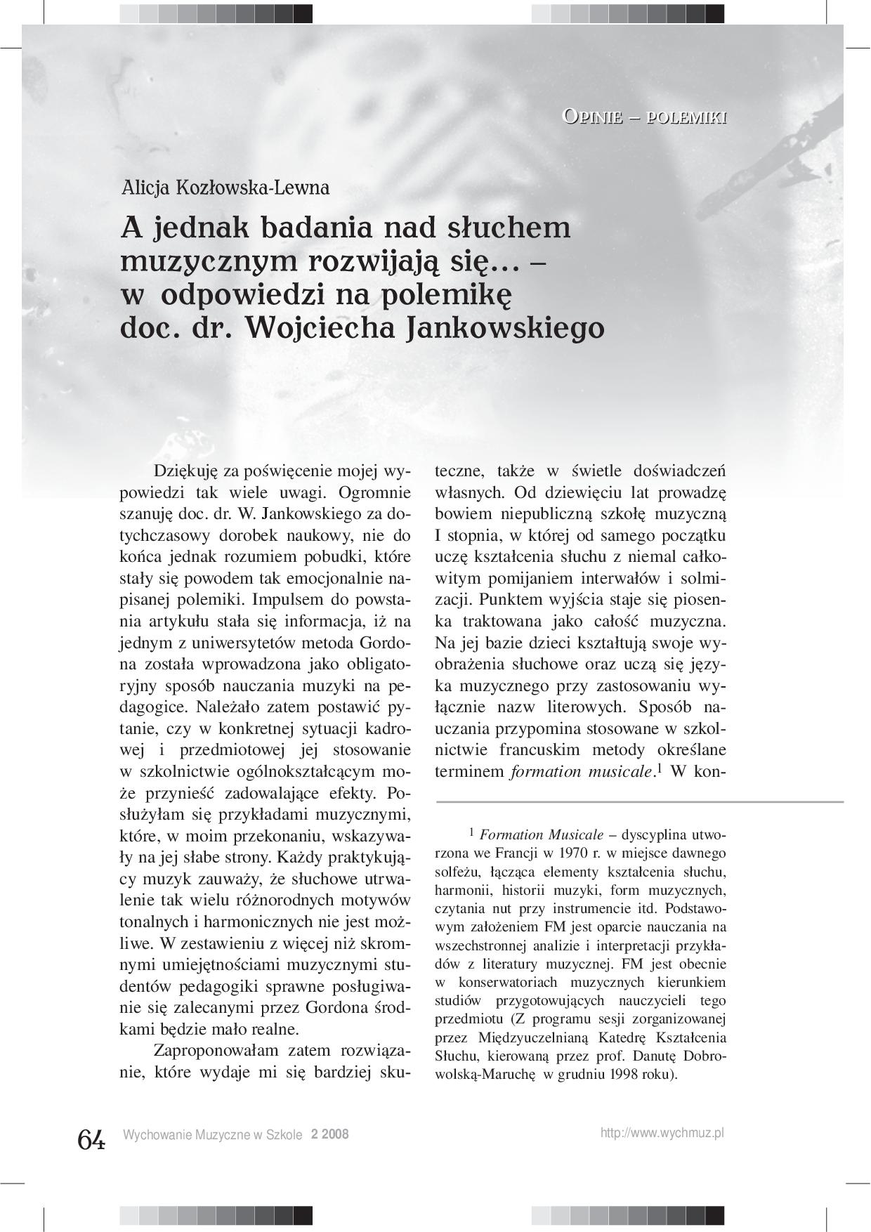 A jednak badania nad słuchem muzycznym rozwijają się… – w odpowiedzi na polemikę doc. dr. Wojciecha Jankowskiego