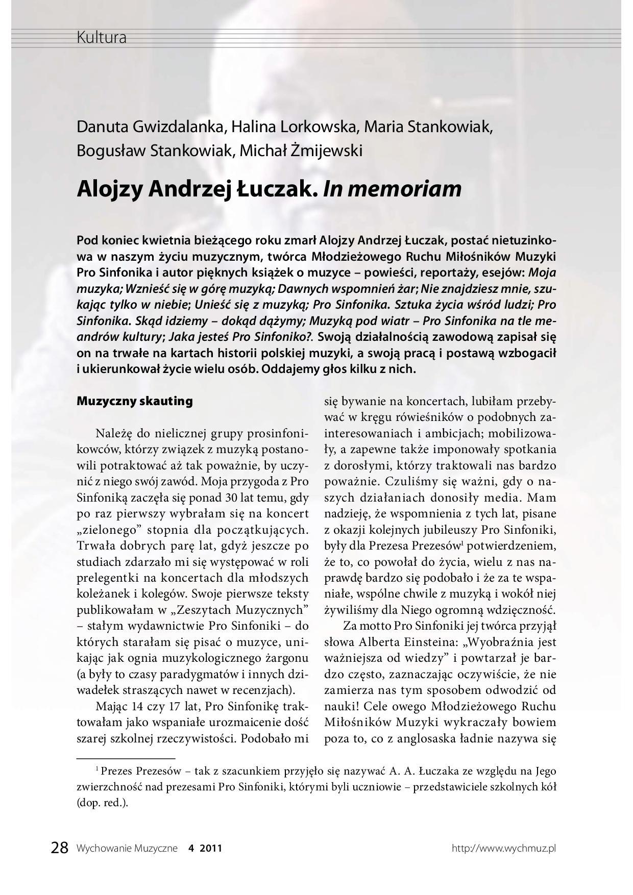 Alojzy Andrzej Łuczak in memoriam