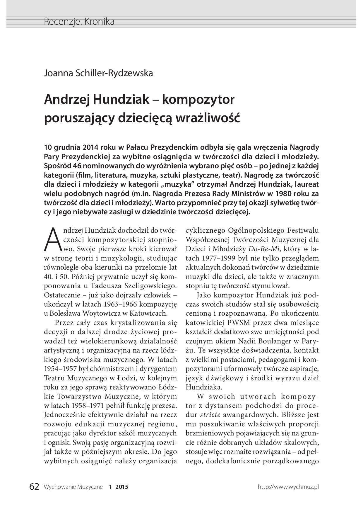 Andrzej Hundziak – kompozytor poruszający dziecięcą wrażliwość