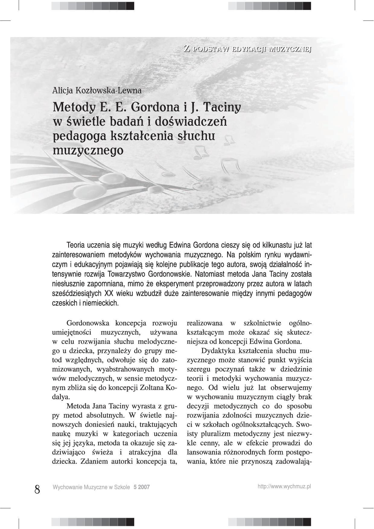 Metody E. E. Gordona J. Taciny w świetle badań i doświadczeń pedagoga kształcenia słuchu muzycznego
