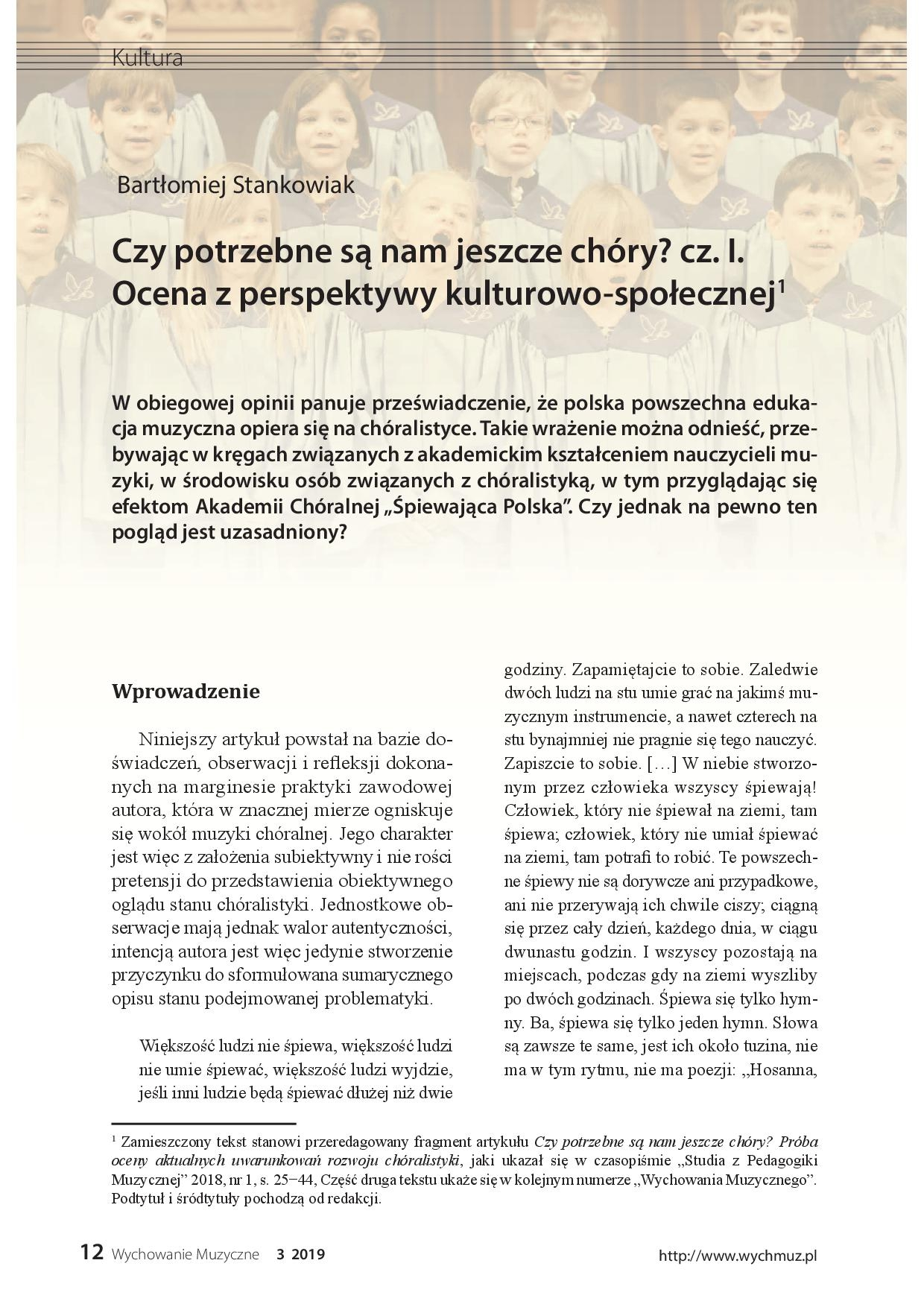 Czy potrzebne są nam jeszcze chóry? cz. I. Ocena z perspektywy  kulturowo-społecznej