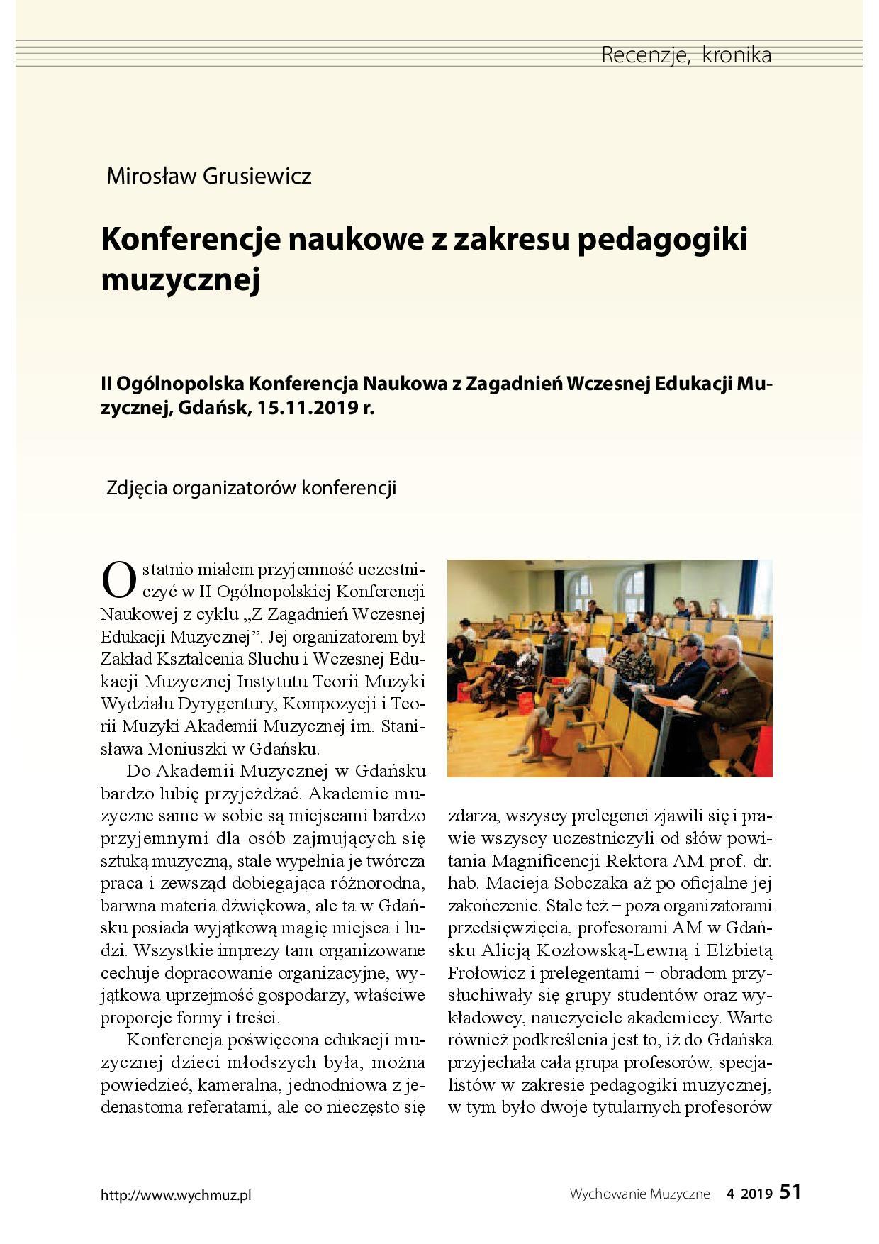 Konferencje naukowe z zakresu pedagogiki muzycznej