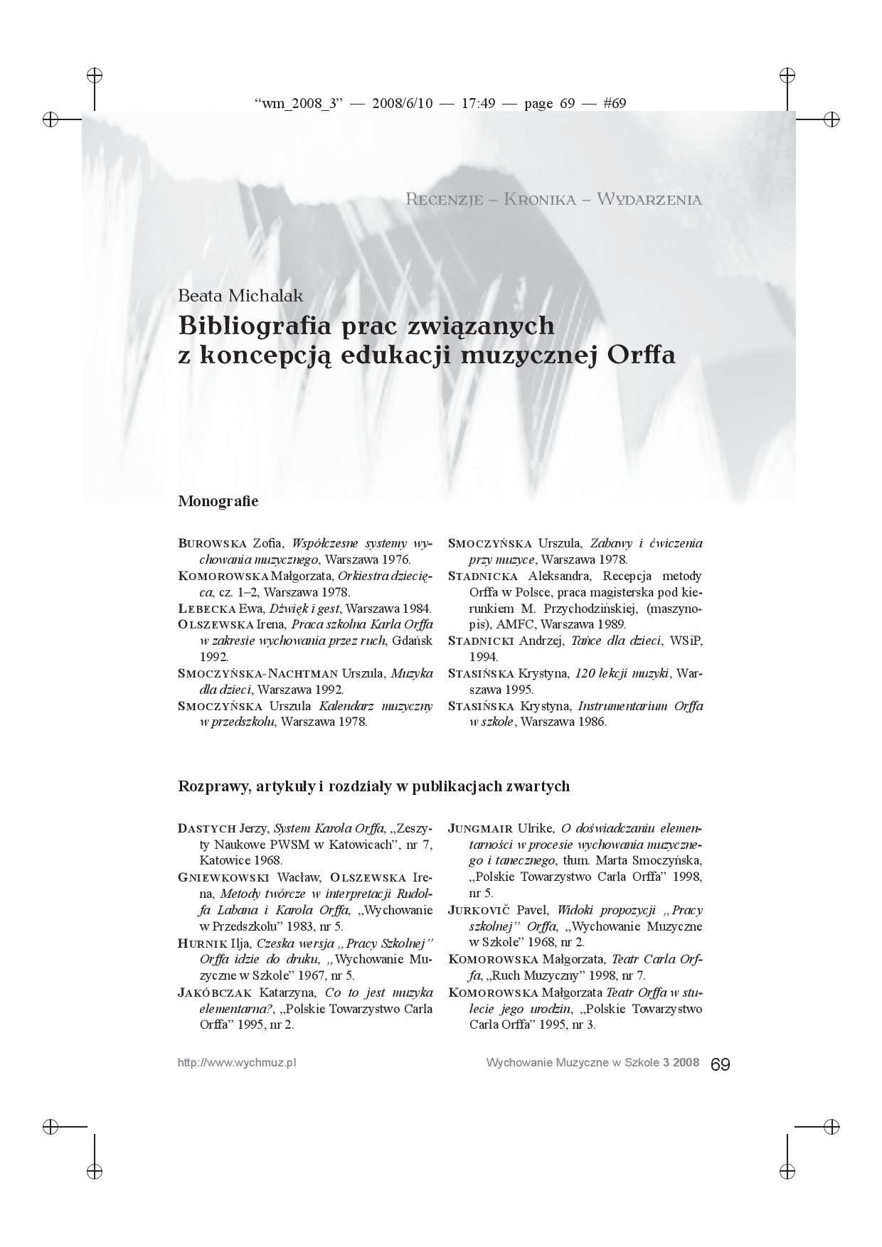 Bibliografia prac związanych z koncepcją edukacji muzycznej Orffa