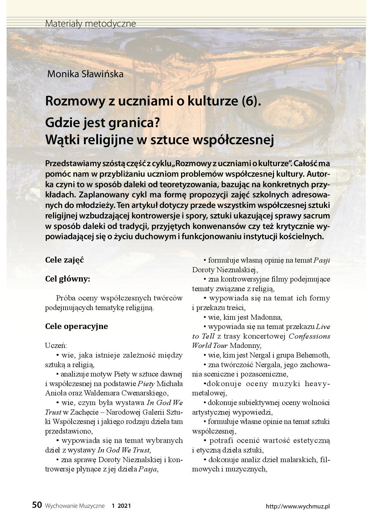 Rozmowy z uczniami o kulturze (6). Gdzie jest granica? Wątki religijne w sztuce współczesnej