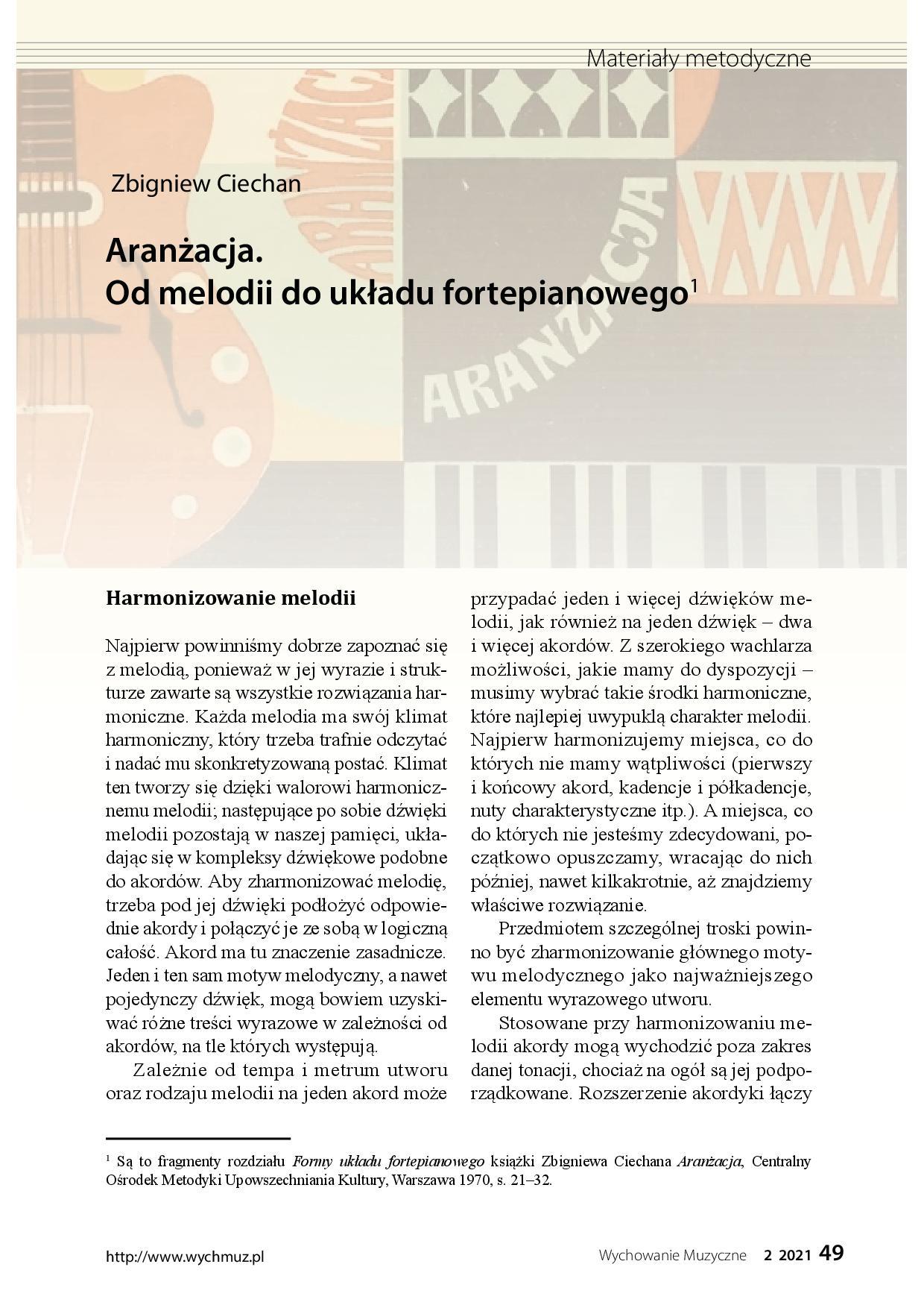 Aranżacja. Od melodii do układu fortepianowego