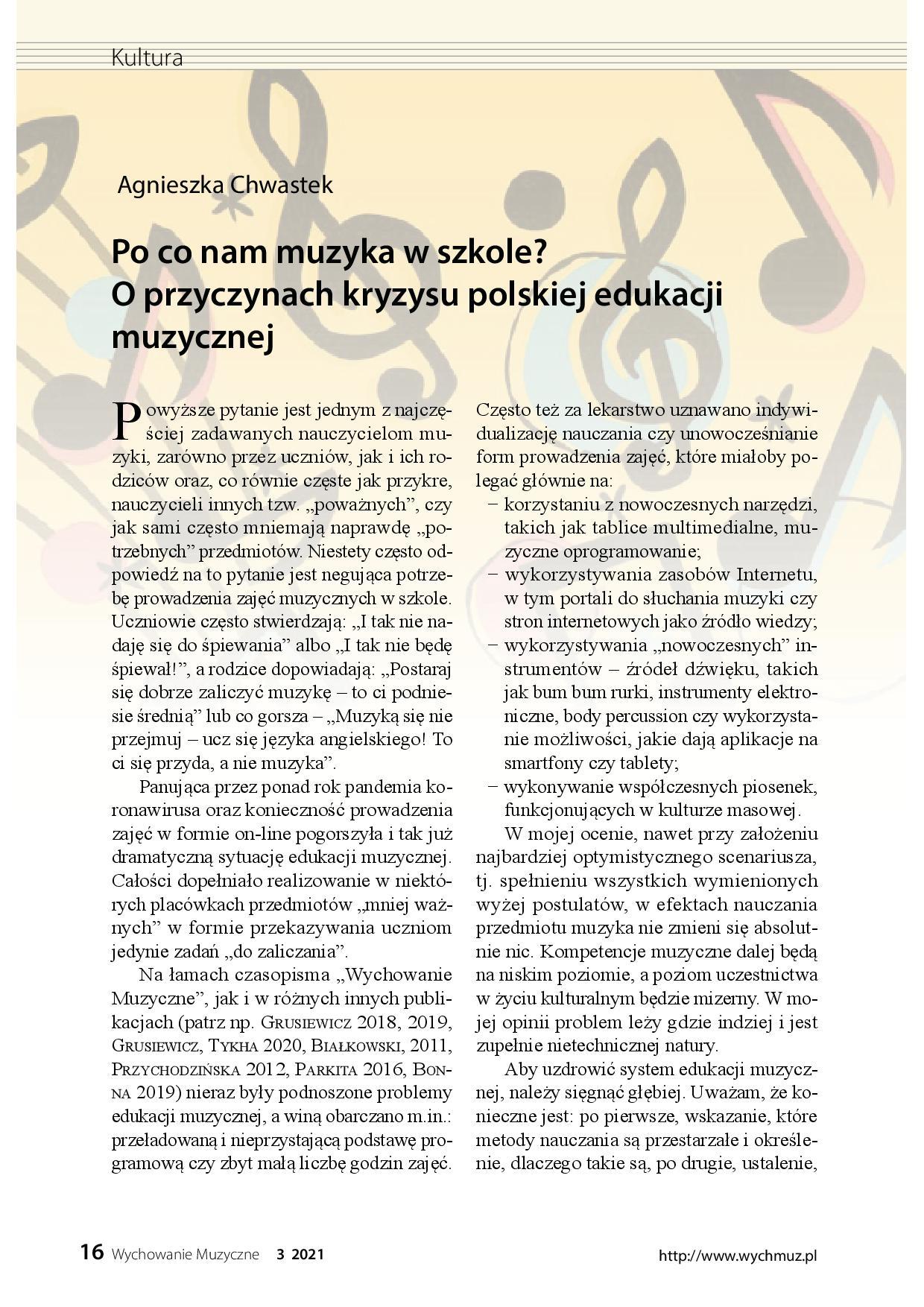 Po co nam muzyka w szkole? O przyczynach kryzysu polskiej edukacji muzyczne