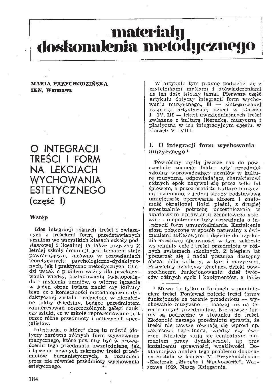 O integracji treści i form na lekcjach wychowania estetycznego (1)