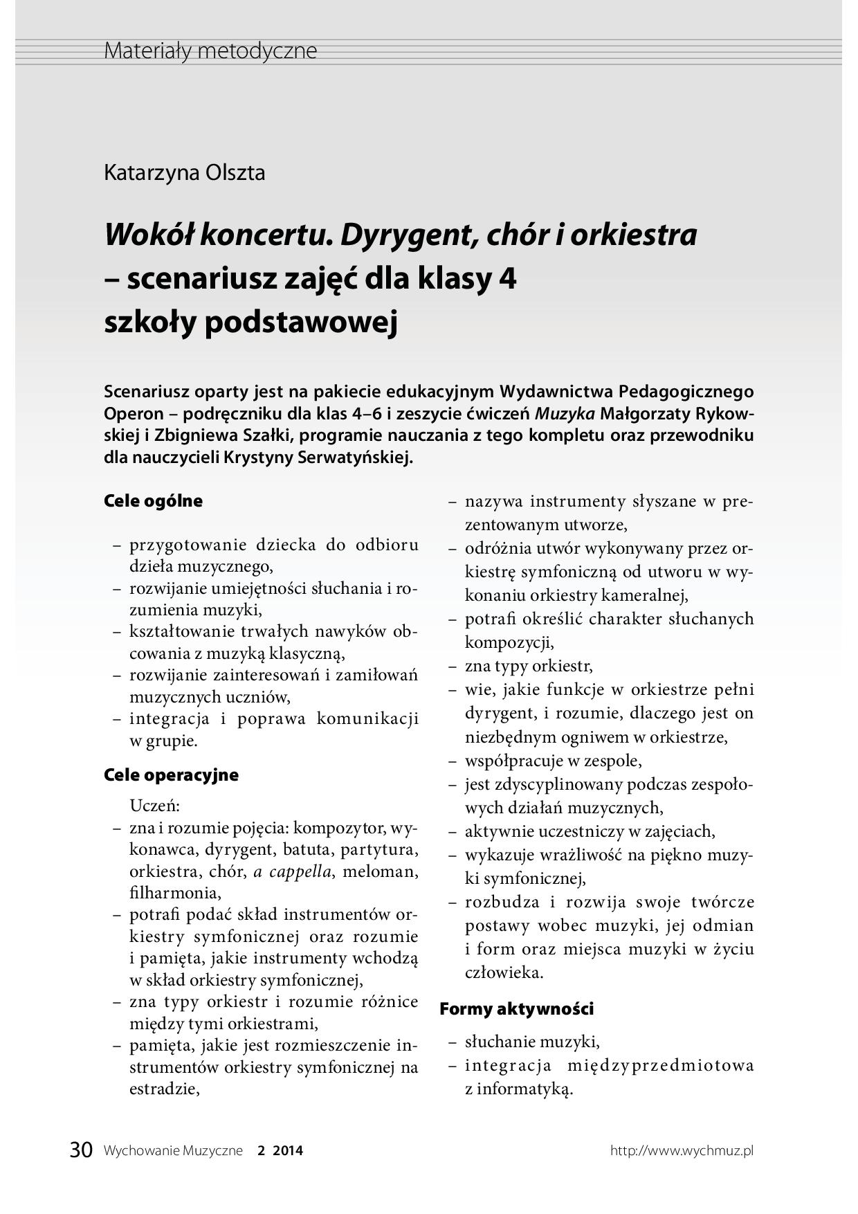 Wokół koncertu. Dyrygent, chór i orkiestra – scenariusz zajęć dla klasy IV SP