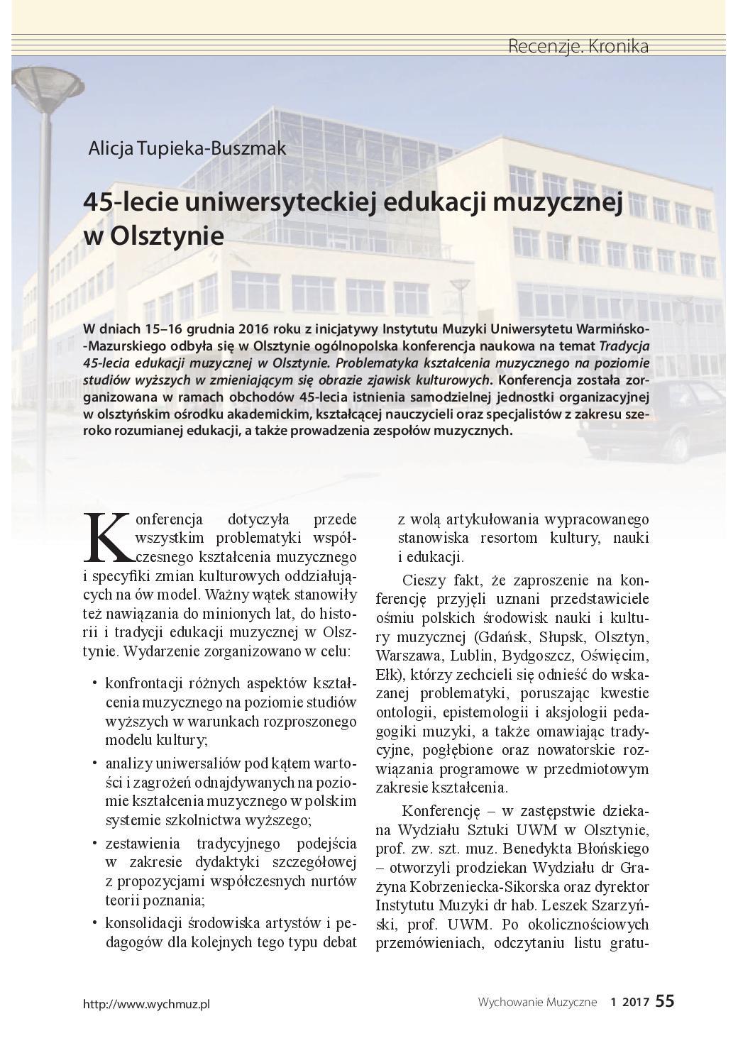 45-lecie uniwersyteckiej edukacji muzycznej w Olsztynie