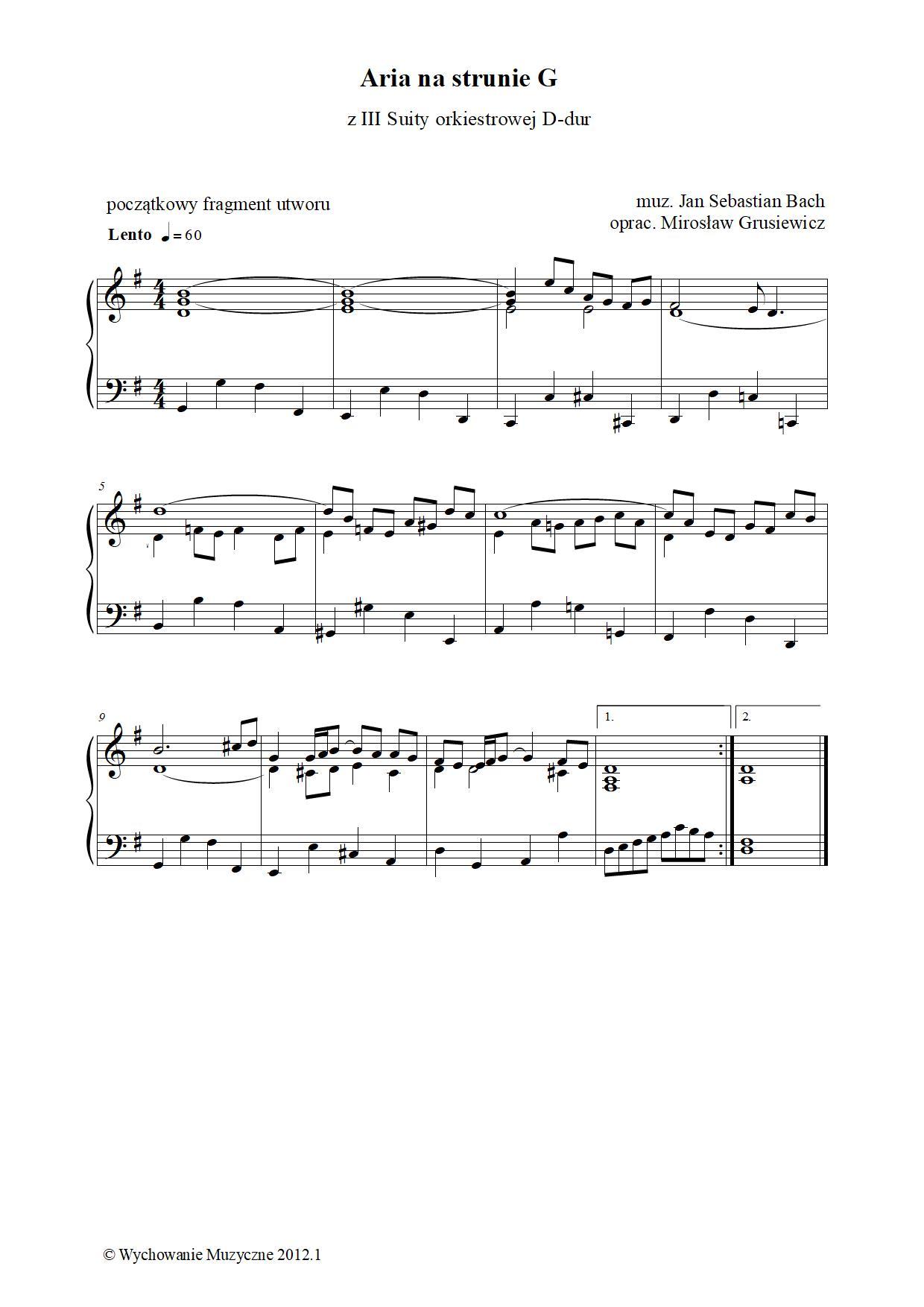 Aria na strunie G z III Suity orkiestrowej D-dur BWV1068